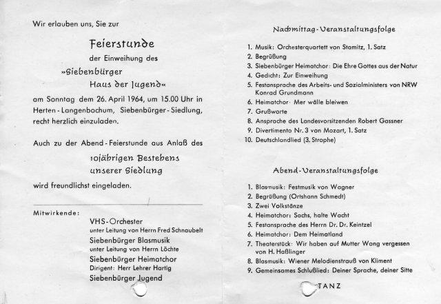 siebenbürger haus der jugend - 1964 einweihung einladung, Einladung